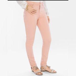 Chico's Womens Bella Pink Girlfriend Ankle Jean